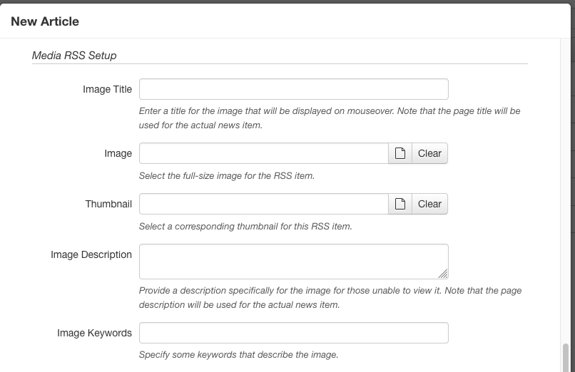 RSS configuration in the New Article dialog
