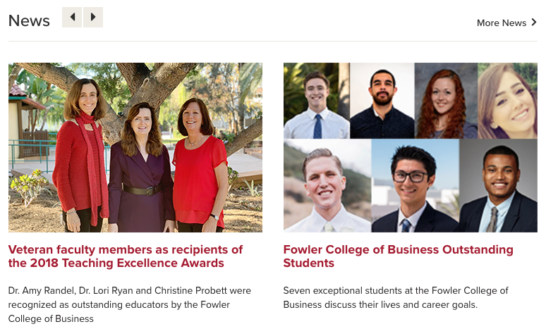 News feed from the Fowler College of Business
