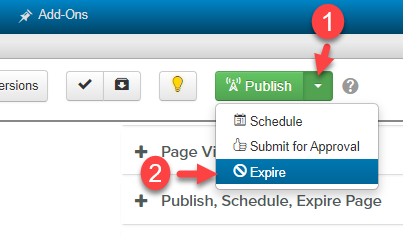 in Publish tab select expire from drop down menu