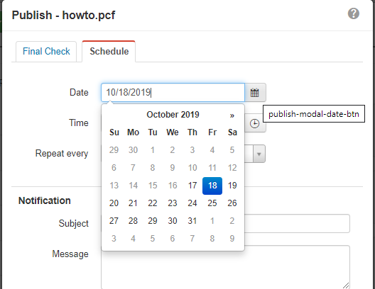 select publish date